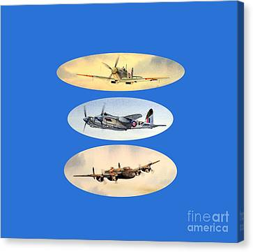 Spitfire Mosquito Lancaster Collage Canvas Print by Bill Holkham