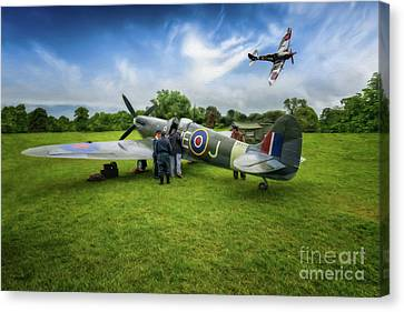 Spitfire Parade Canvas Print by Adrian Evans