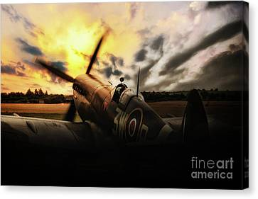 Spitfire Sunset Silhouette Canvas Print by J Biggadike