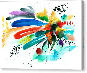 Splash In Abstract Watercolor Canvas Print by My Art