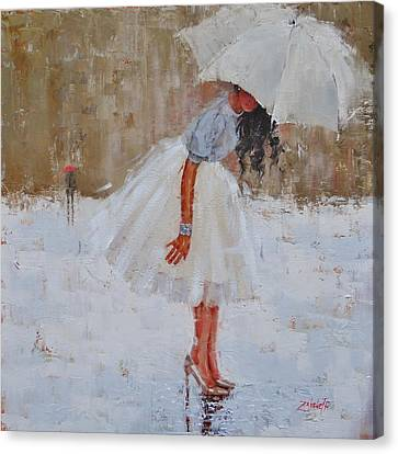 Rainy Day Canvas Print - Splash by Laura Lee Zanghetti