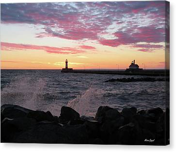 Duluth Canal Park Canal Park Lighthouse Lighthouse Lake Superior Minnesota Canvas Print - Splash Of Color by Alison Gimpel