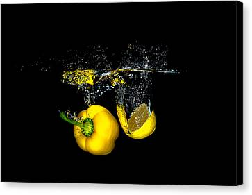Splash Of  Pepper And Lemon Canvas Print