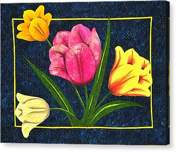 Canvas Print featuring the tapestry - textile Splash Of Tulips by Jo Baner
