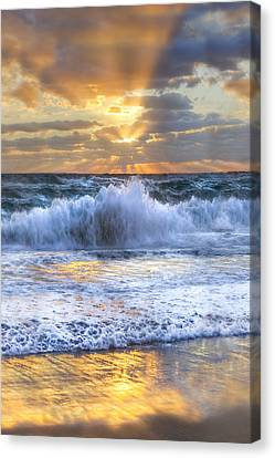 Splash Sunrise II Canvas Print by Debra and Dave Vanderlaan