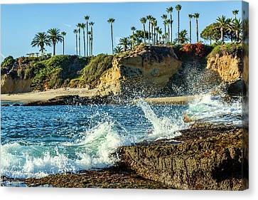 Splashing Waves And Nice Beach Canvas Print by Kelley King