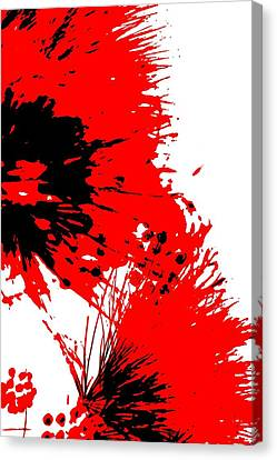 Splatter Black White And Red Series Canvas Print by Betty Northcutt