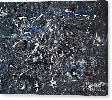 Splattered - Grey Canvas Print by Jacqueline Athmann