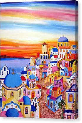 Splendid Santorini Sunset My Way Canvas Print by Roberto Gagliardi