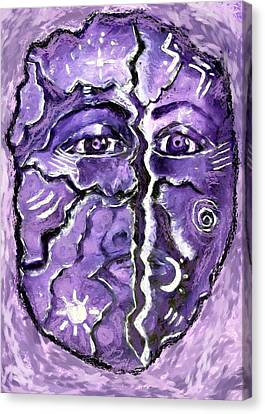 Canvas Print featuring the painting Split A Mask by Shelley Bain