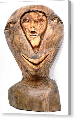 Canvas Print featuring the sculpture Split Personality. Olive Wood Sculpture by Eric Kempson