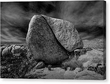 Canvas Print featuring the photograph Split Rock In Black And White At Joshua Tree National Park by Randall Nyhof
