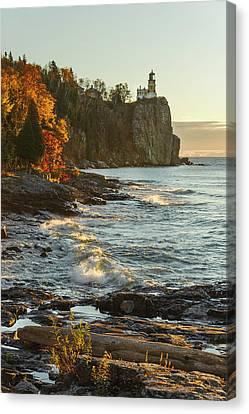 Split Rock Lighthouse At Sunrose Canvas Print