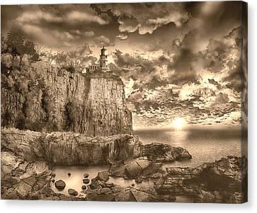 Split Rock Lighthouse Sepia Canvas Print