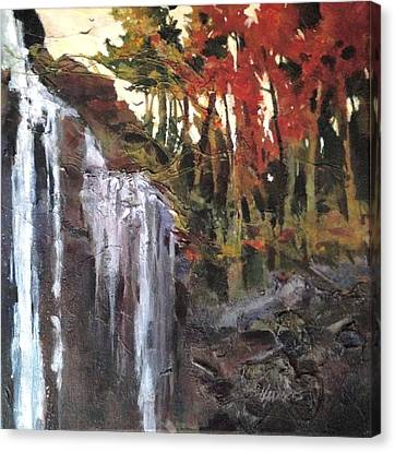 Canvas Print featuring the painting Splitrock Falls by Helen Harris