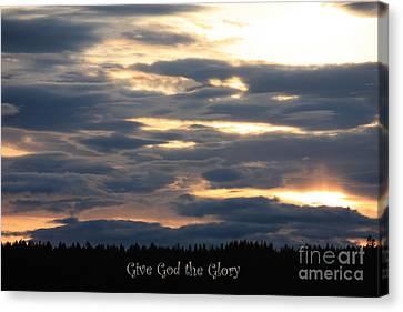 Spokane Sunset - Give God The Glory Canvas Print by Carol Groenen