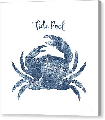 Blue Claw Crab Canvas Print - Sponge Painted Crab Tide Pool Silhouette, Delft Blue Crab, Nautical Art by Tina Lavoie