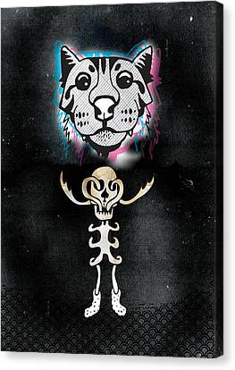 Spooky Cat Hologram Canvas Print by Steven Silverwood
