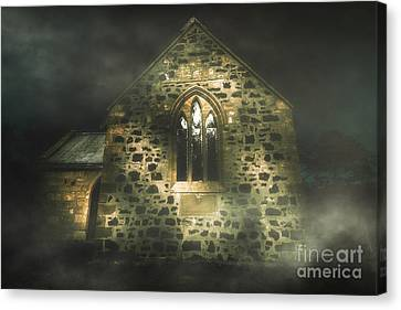 Spooky Stone Church In A Haunted Winters Night Canvas Print by Jorgo Photography - Wall Art Gallery