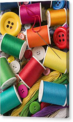 Spools Of Thread With Buttons Canvas Print by Garry Gay