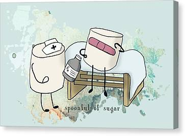 Canvas Print featuring the digital art Spoonful Of Sugar Words Illustrated  by Heather Applegate