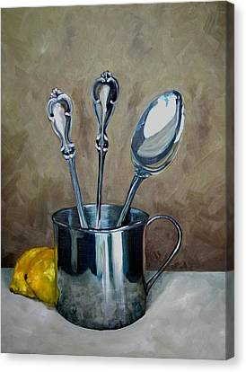 Spoons Lemons And A Baby Cup Canvas Print by Amy Higgins