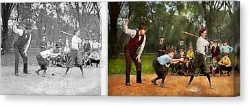 Sport - Baseball - Strike One 1921 - Side By Side Canvas Print