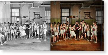 Canvas Print featuring the photograph Sport - Boxing - Fists Of Fury 1924 - Side By Side by Mike Savad