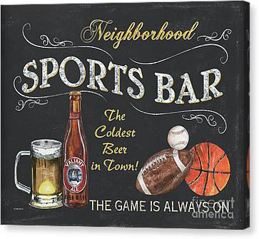 Football Canvas Print - Sports Bar by Debbie DeWitt