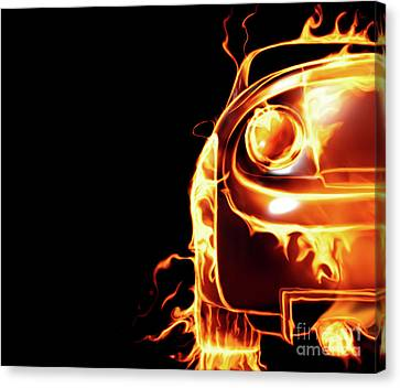 Sports Car In Flames Canvas Print by Oleksiy Maksymenko