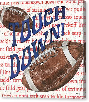Sports Fan Football Canvas Print by Debbie DeWitt