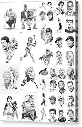 Sports Figures Collage Canvas Print by Murphy Elliott