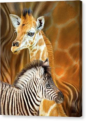Canvas Print featuring the mixed media Spots And Stripes - Giraffe And Zebra by Carol Cavalaris