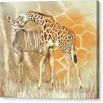 Canvas Print featuring the mixed media Spots And Stripes - Giraffe - Antelope by Carol Cavalaris
