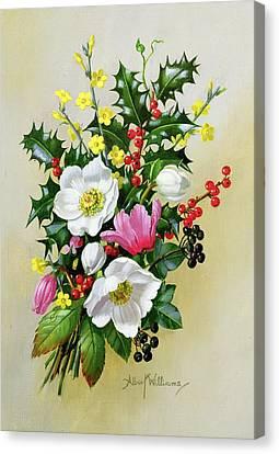 Spray Of Dogrose Holly Mistletoe And Larkspur Canvas Print