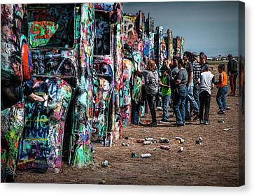 Canvas Print featuring the photograph Spray Paint Fun At Cadillac Ranch by Randall Nyhof