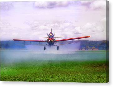 Canvas Print featuring the photograph Spraying The Fields - Crop Duster - Aviation by Jason Politte