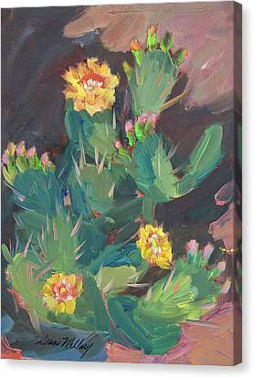 Canvas Print featuring the painting Spring And Prickly Burst Cactus by Diane McClary