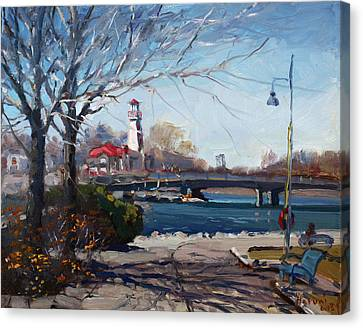 Port Credit Canvas Print - Spring At Port Credit by Ylli Haruni