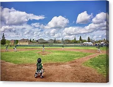 Spring Baseball Warm-up  Canvas Print by Steven Clark