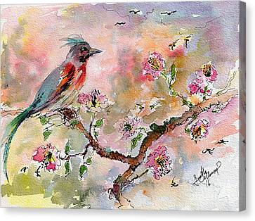 Canvas Print featuring the painting Spring Bird Fantasy Watercolor  by Ginette Callaway