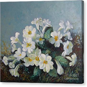 Canvas Print featuring the painting Spring Blooms by Elena Oleniuc