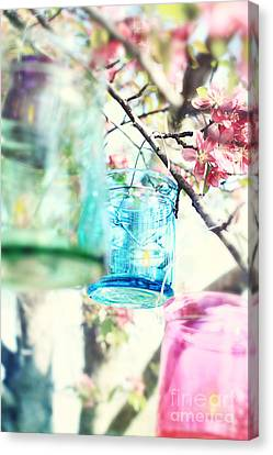 Spring Party Canvas Print - Spring Blossoms And Candles by Stephanie Frey