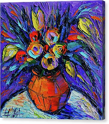 Spring Bouquet In Orange Vase - Impasto Palette Knife Oil Painting Canvas Print by Mona Edulesco