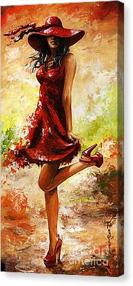 Red Dress Canvas Print - Spring Breeze by Emerico Imre Toth