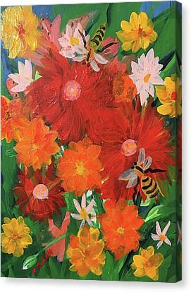 Spring Bumble Bees Canvas Print