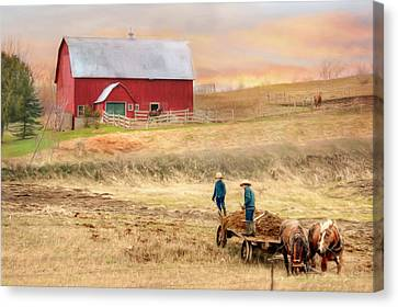 Farm Fields Canvas Print - Spring Chores by Lori Deiter