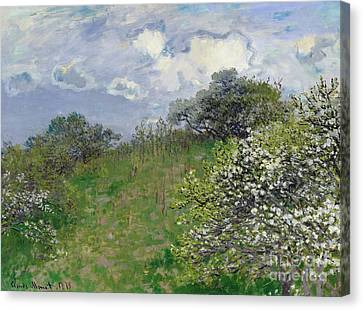 Impressionist Landscape Canvas Print - Spring by Claude Monet