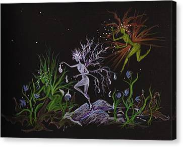 Canvas Print featuring the drawing Spring Conflicts by Dawn Fairies