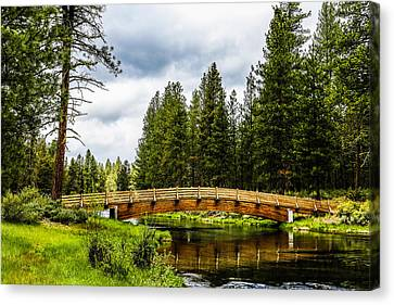 Spring Creek Bridge Canvas Print by Michael Parks